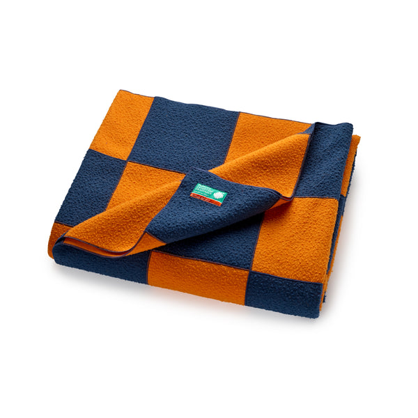 Satsuma and Sea Blue Large Wool Patchwork Blanket