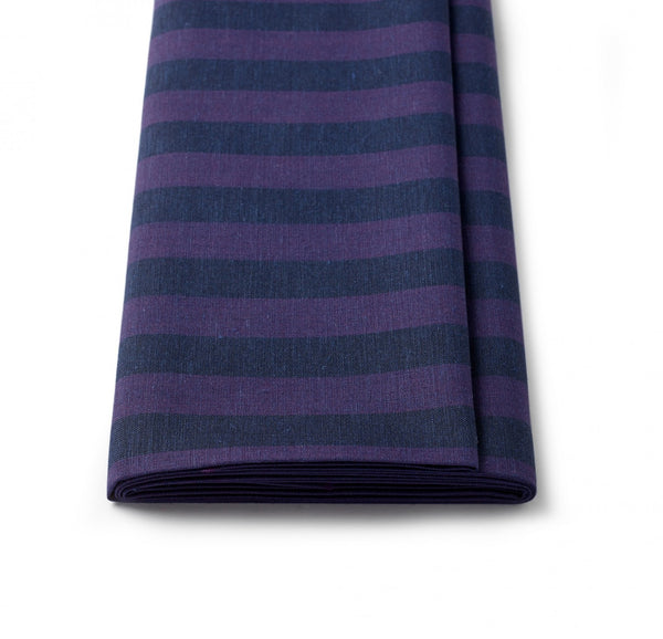 Linen Purple and Navy Sporting Stripe Jacketing