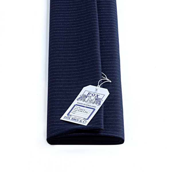 290g Navy Narrow Pin Stripe Fox Flannel