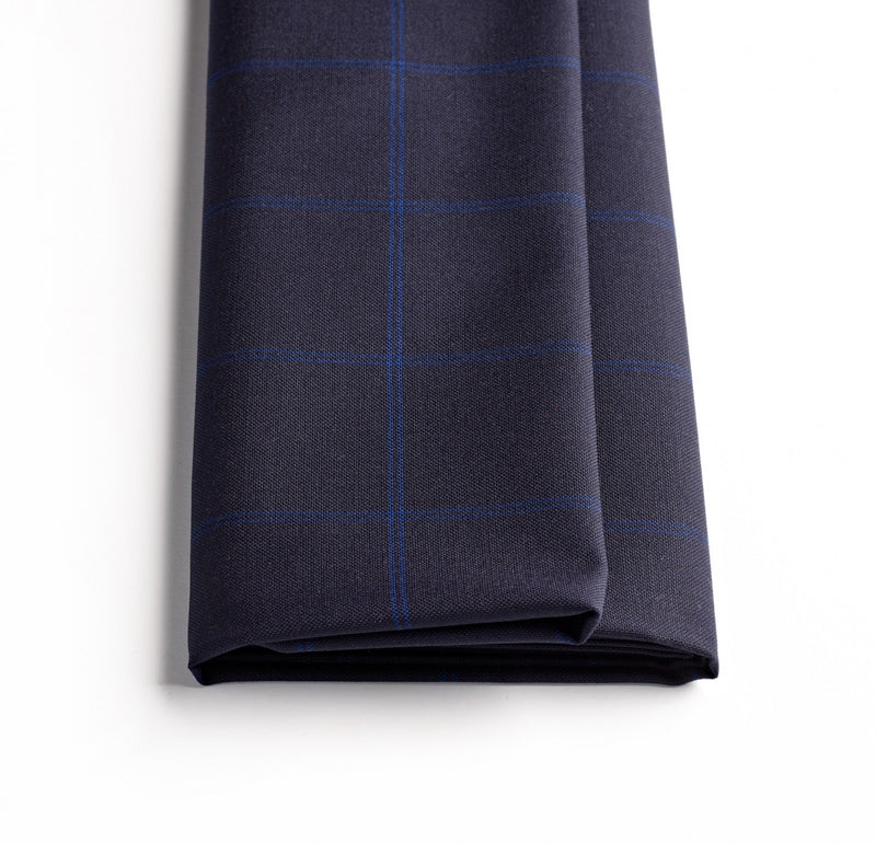 Navy Hopsack Windowpane