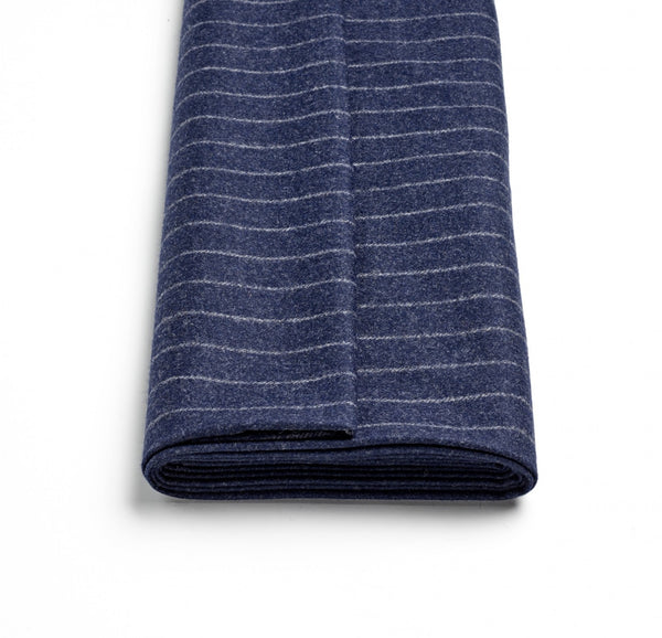Navy Wide Chalk Stripe Flannel