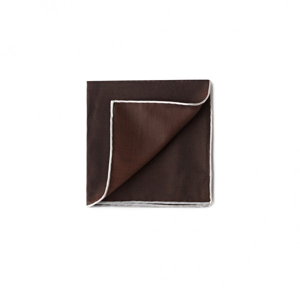 Simonnot Godard Luxury Border pocket square in Chocolate brown 100% cotton