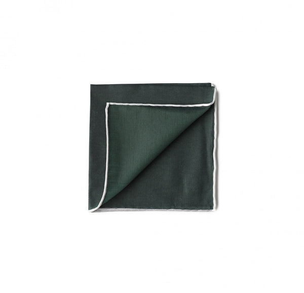 Simonnot Godard Border Pocket Square in Forest Green