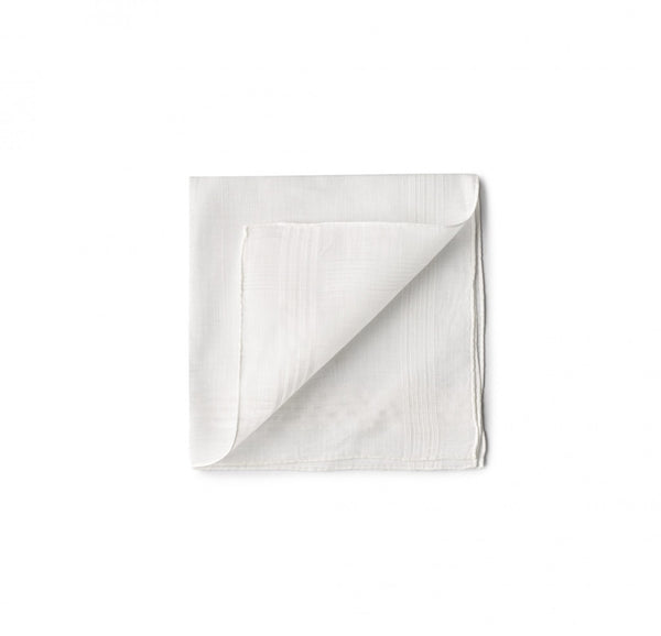 Simonnot Godard Brummel Border Pocket Square in White