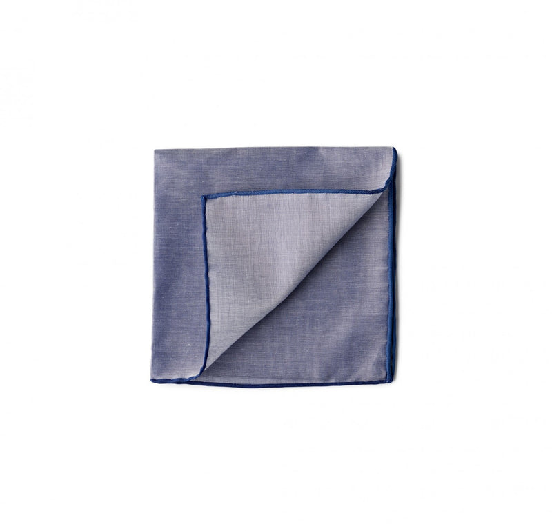 Simonnot Godard Chambray Border Pocket Square