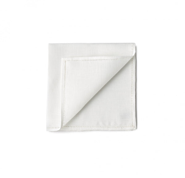 Simonnot Godard Hemstitch Pocket Square in Optic White