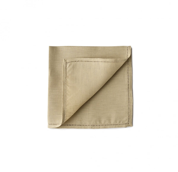 Simonnot Godard Luxury Hemstitch 100% Linen pocket square in sand