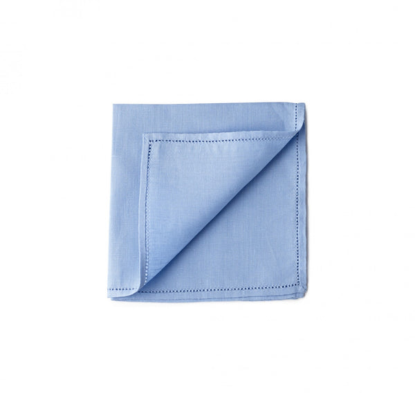Simonnot Godard Hemstitch Pocket Square in St Tropez Blue