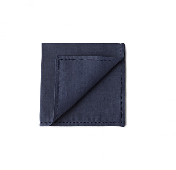 Simonnot Godard Hemstitch 100% Linen pocket square in Navy