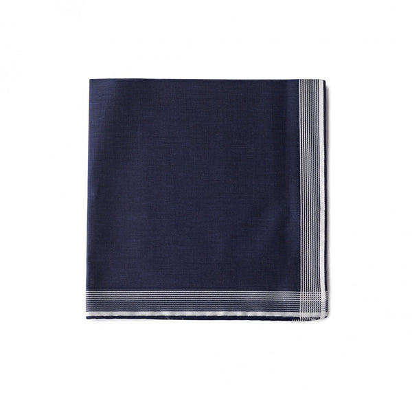 Simonnot Godard Navy Multistripe Border Pocket Square