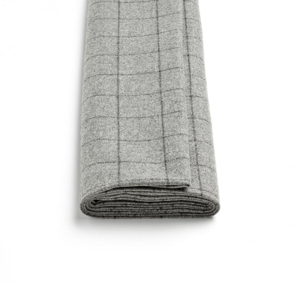 Soft Grey Windowpane Flannel