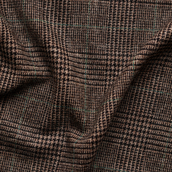 Brown Prince of Wales Check Tweed with Green Deco