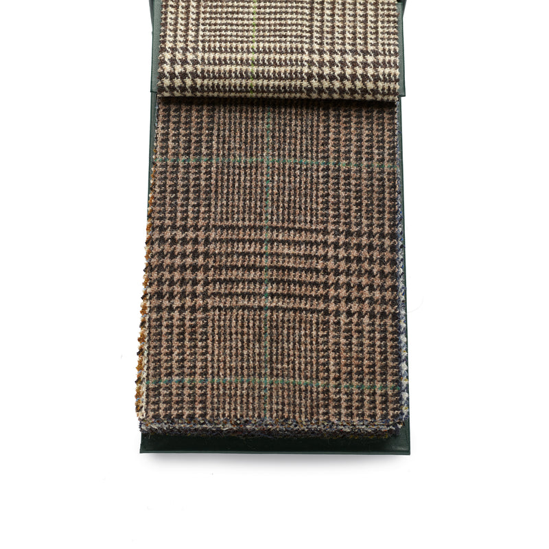 Finest quality 100% wool Fox Tweed cloth, Black, Brown and Green Glen check