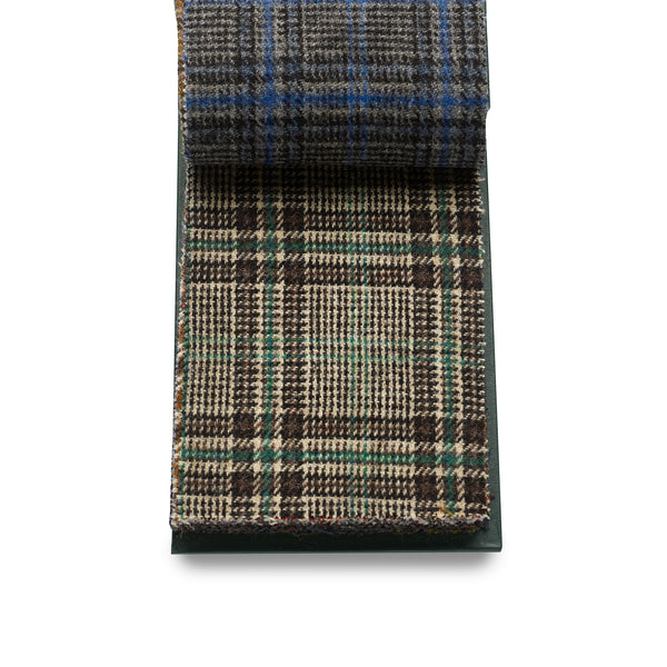 100% Wool Luxury Fox Tweed Cloth, Chocolate Brown and Black Check with Green Overlay.