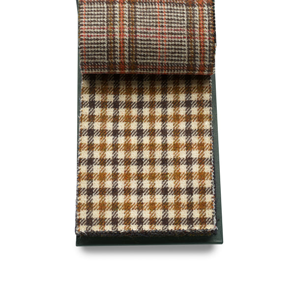 100% Wool Luxury Fox Tweed, Ecru with Russet and Brown Check