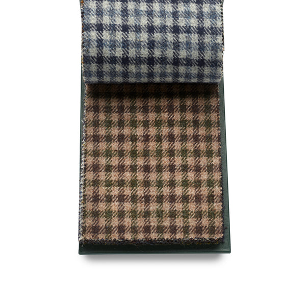 Luxury 100% Wool Fox Tweed Cloth, Camel with brown and green check.