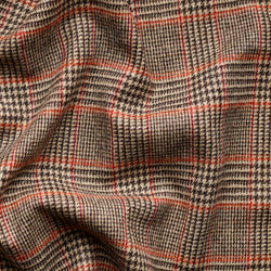 Brown Glen Check Tweed with a Tangerine & Claret Deco