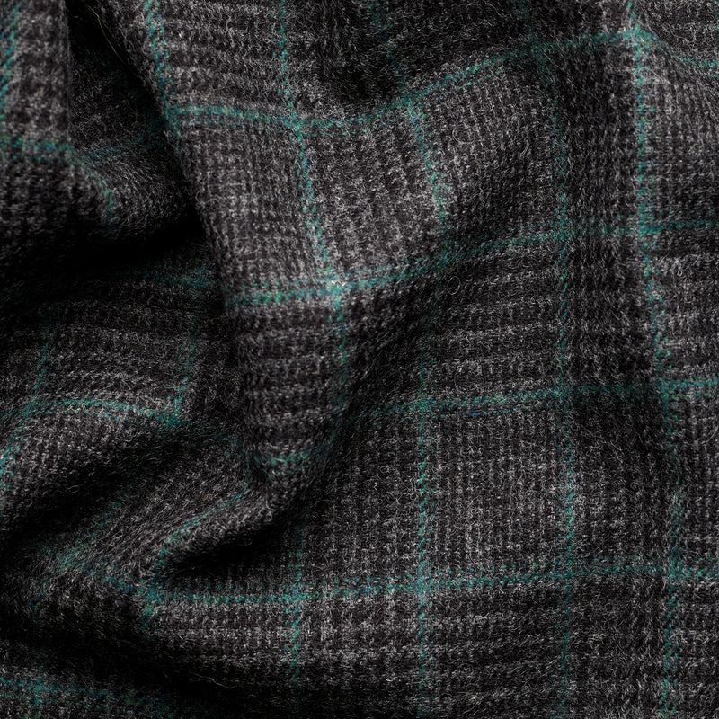 Charcoal Glen Check Tweed with an Emerald Deco