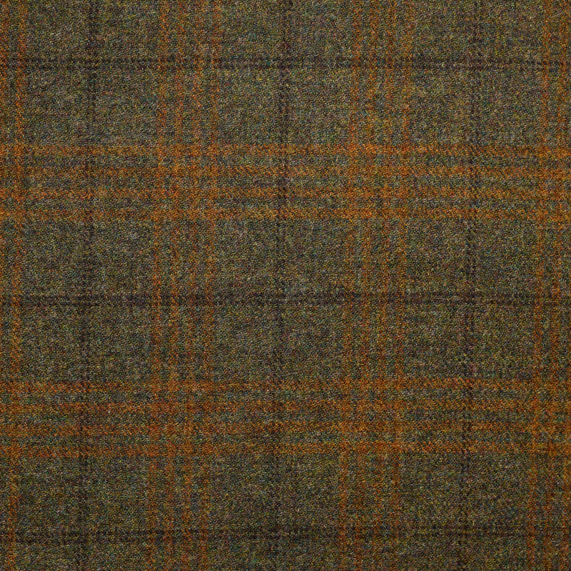 Moss Green Tweed with Brown and Amber Windowpane Deco