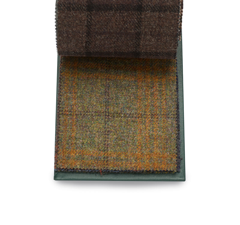 Finest quality 100% Wool fox tweed, green and brown windowpane with russet overlay