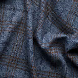 Mid-Blue Tweed with Chocolate & Navy Windowpane Deco