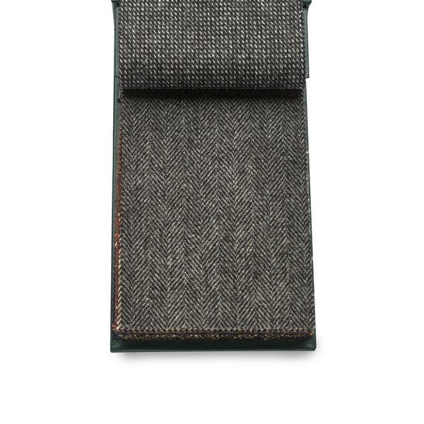 Luxury 100% Wool Fox Tweed Cloth, Black and Grey Herringbone.