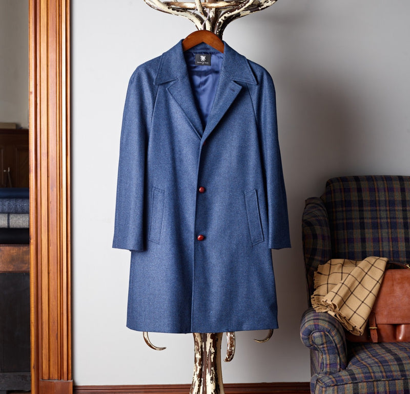 The Merchant Bright Navy Herringbone Coat