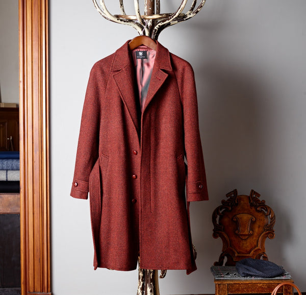 The Merchant Deep Red Herringbone Coat