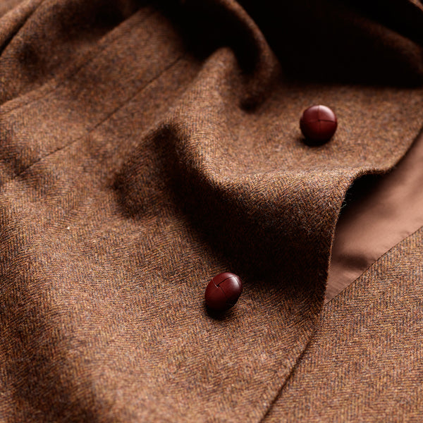 The Merchant Cedar Brown Herringbone Coat