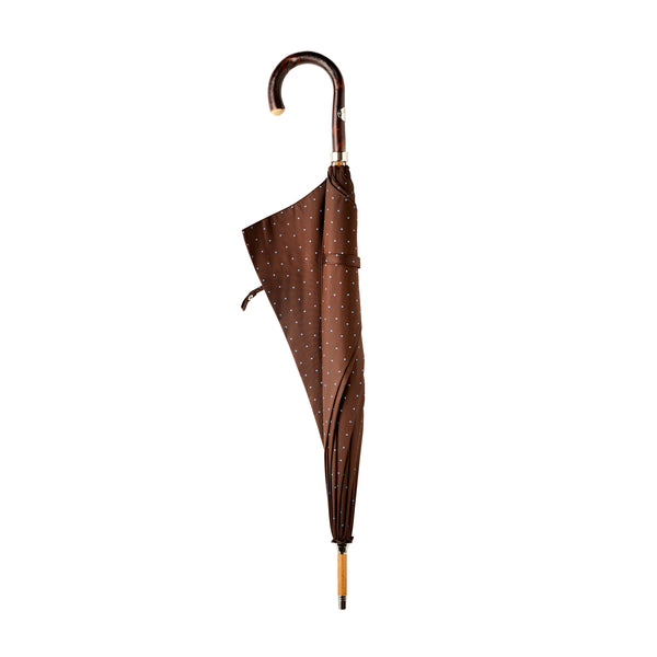 Francesco Maglia Chocolate Brown and Blue Polka Dot Umbrella.