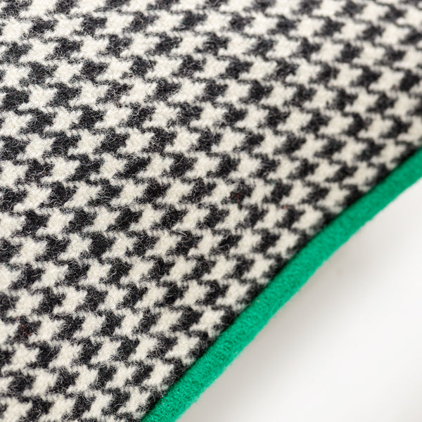 Monochrome Houndstooth with Grass Green Cushion