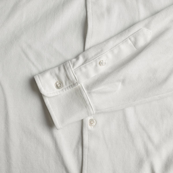 Classic Long Sleeve Knitted Pique Polo Shirt Optic White sleeve close up