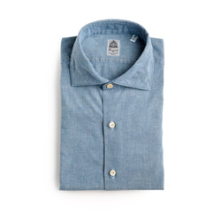 Finamore Weekend Chambray Shirt with No Pocket