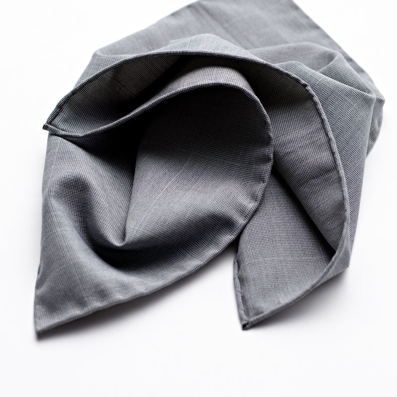 Windowpane Mid Grey Silk Pocket Square