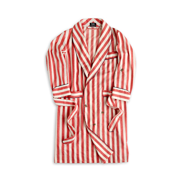 Limited Edition Red and Ecru Boating Stripe Lounge Gown with Hand Embroidered Bees