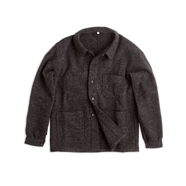Charcoal & Black Herringbone Utility Jacket