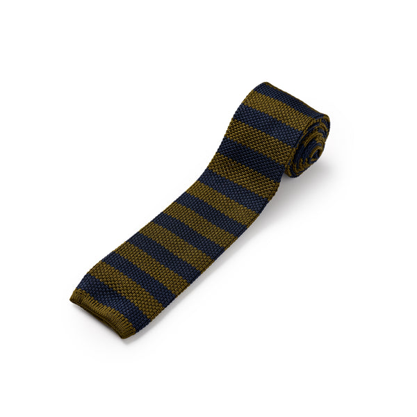 Khaki Green and Royal Blue Silk Stripe Knitted Tie