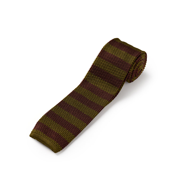 Chocolate Brown and Khaki Green Silk Stripe Knitted Tie