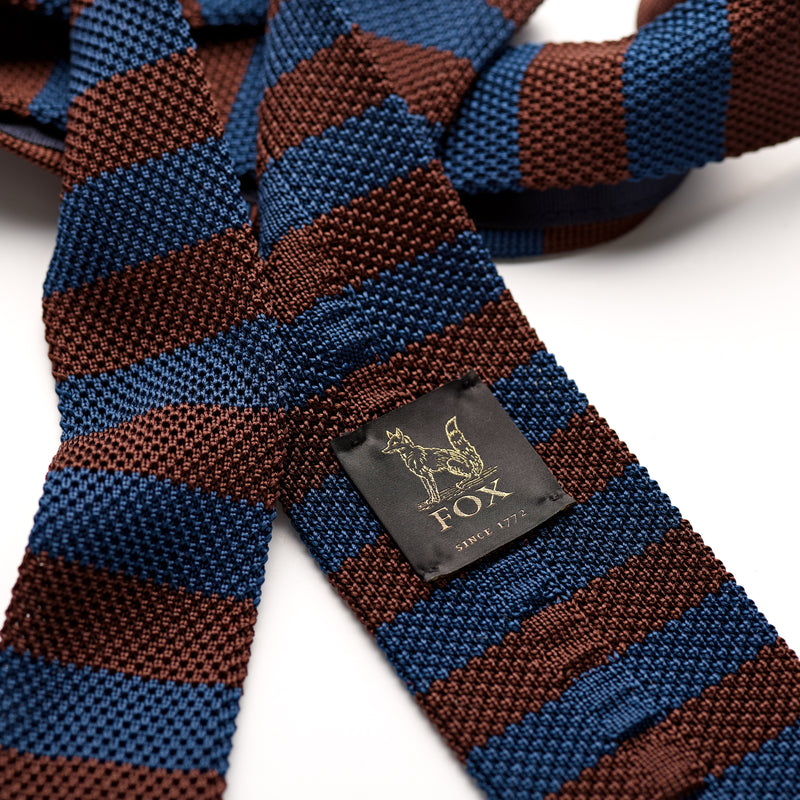 Royal Blue and Choclate Silk Stripe Knitted Tie