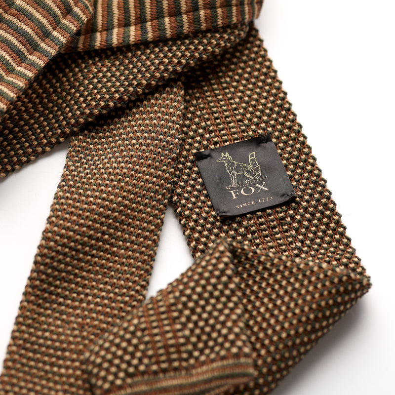 Mushroom, Cappuccino and Khaki Green Spot Wool Knitted Tie