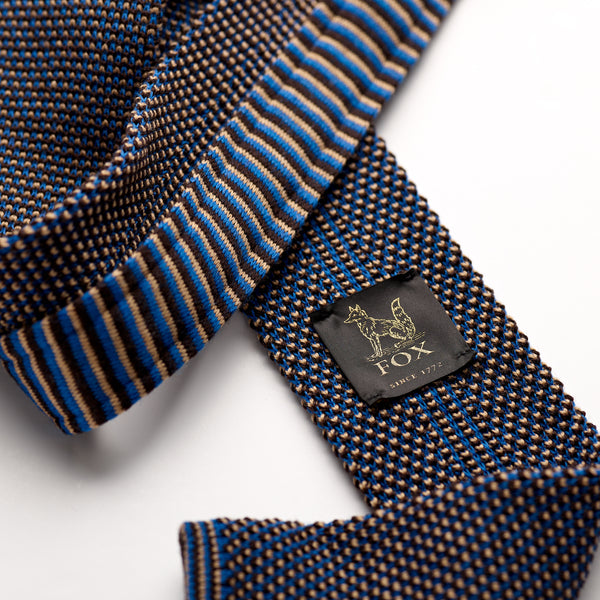 Azure Blue, Cappuccino and Chocolate Brown Spotty Wool Knitted Tie