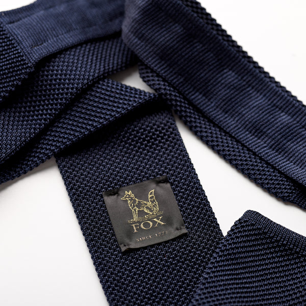 French Navy Plain Blue Silk Knitted Tie