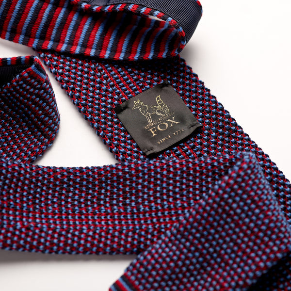 Crimson Red, Sky Blue and Black Spot Wool Knitted Tie