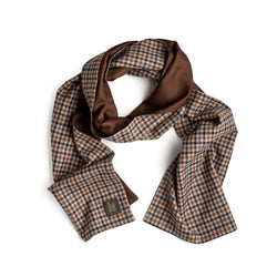 Fox Gun Club Check Flannel and English Hickory Brown Silk Tubular Scarf