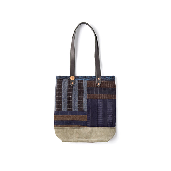 navy-handmade-patchwork-craftmanship-fox-flannel-the-merchant-fox-Tote-bag-every-day-bag-leather-handle-shoulder-bag