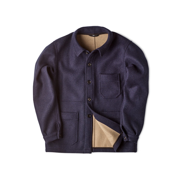 Fox Limited Edition Utility Jacket in Fused Double Navy and Fawn Cloth.