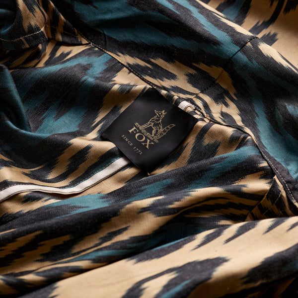Ikat Lounge Gown in Gold, Black and Turkish Green