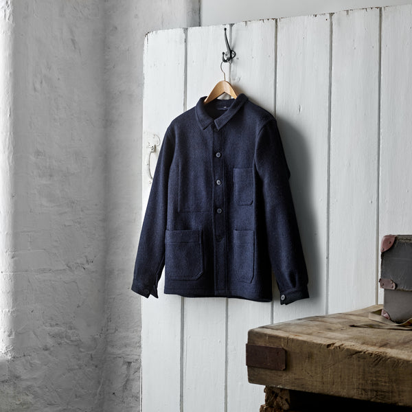 Luxury Mens Navy Utility Jacket, from the finest quality Fox Brothers overcoating cloth