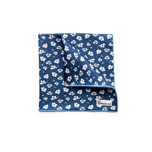 The Merchant Fox Petronius 100% handrolled Pocket Square Silk Navy Ditsy Floral Pocket Square