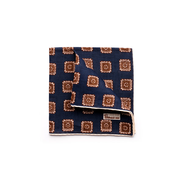 The Merchant Fox Petronius Luxury Handrolled 100% Linen Pocket Square Handprinted Navy Vintage Medallion Pattern